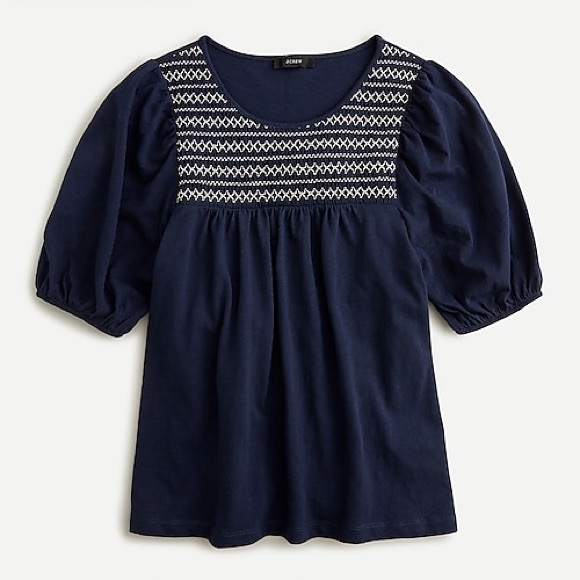 J.Crew Embroidered Top Navy Short Sleeves NWT